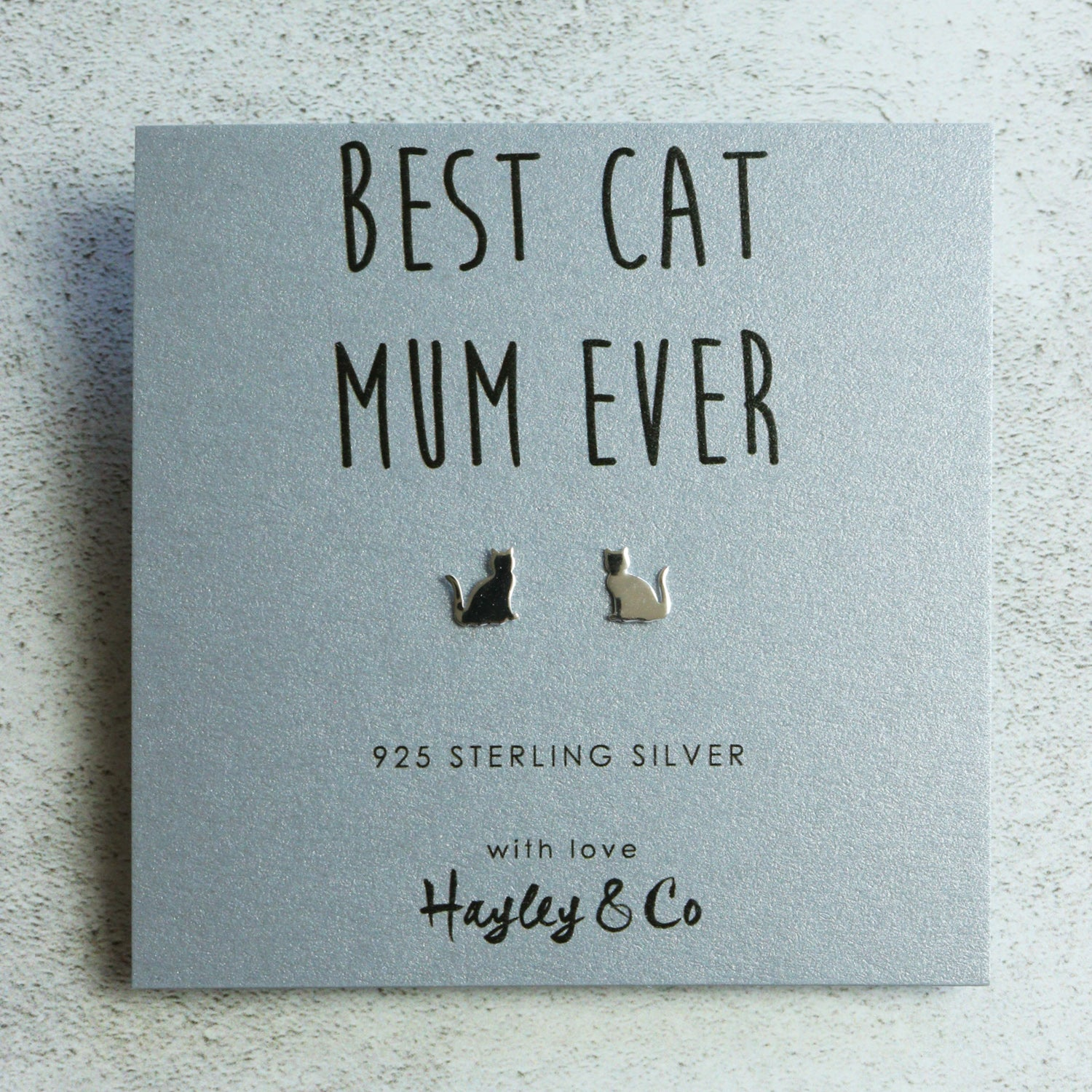 Best Cat Mum Silver Silhouette Earrings