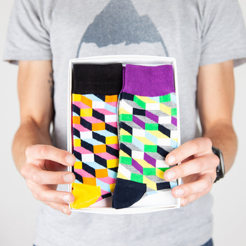 Dapper Dad Box of Socks - Bright Geometric