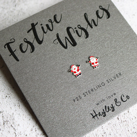 Jolly Santa Sterling Silver Earrings