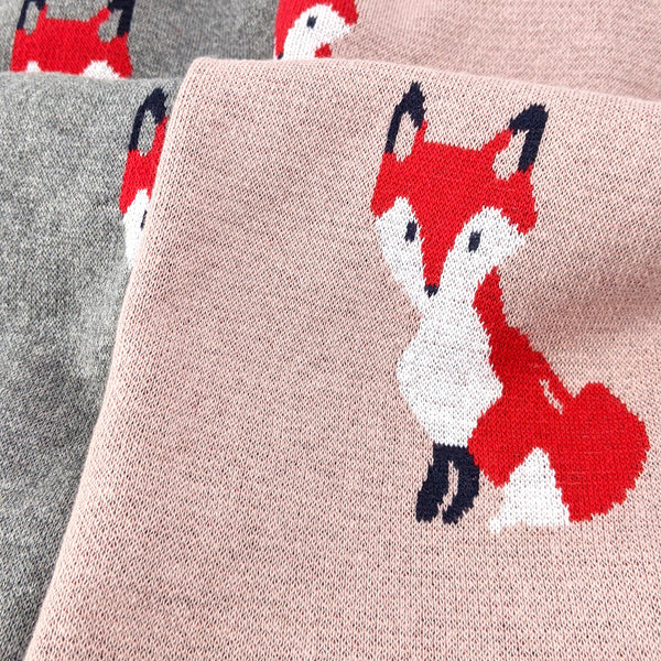 Little Fox Knitted Cotton Baby Blanket