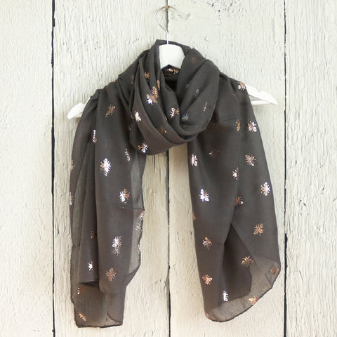 Rose Gold Bee Print Scarf