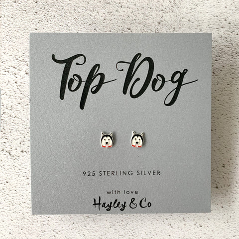 Husky Dog Sterling Silver Earrings