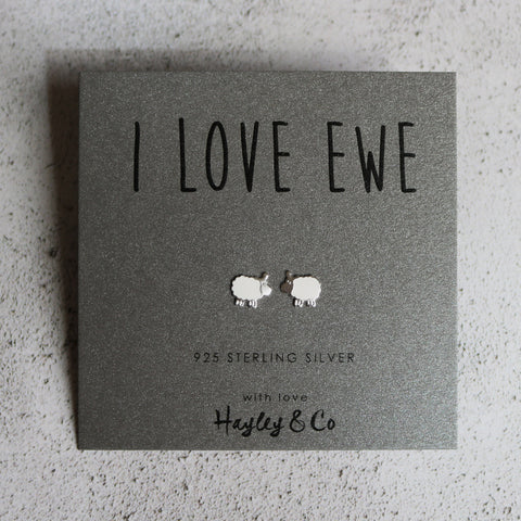Sterling Silver Earrings - 'I love Ewe' Sheep Earrings