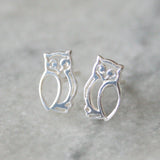 Little Owl Sterling Silver Earrings