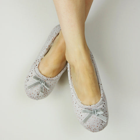 Rose Gold Star Velvet Slippers