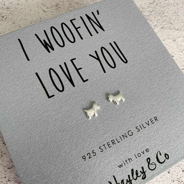 Sterling Silver Dog Earrings
