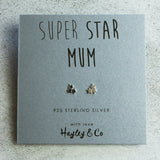 Super Star Mum Silver Star Cluster Earrings