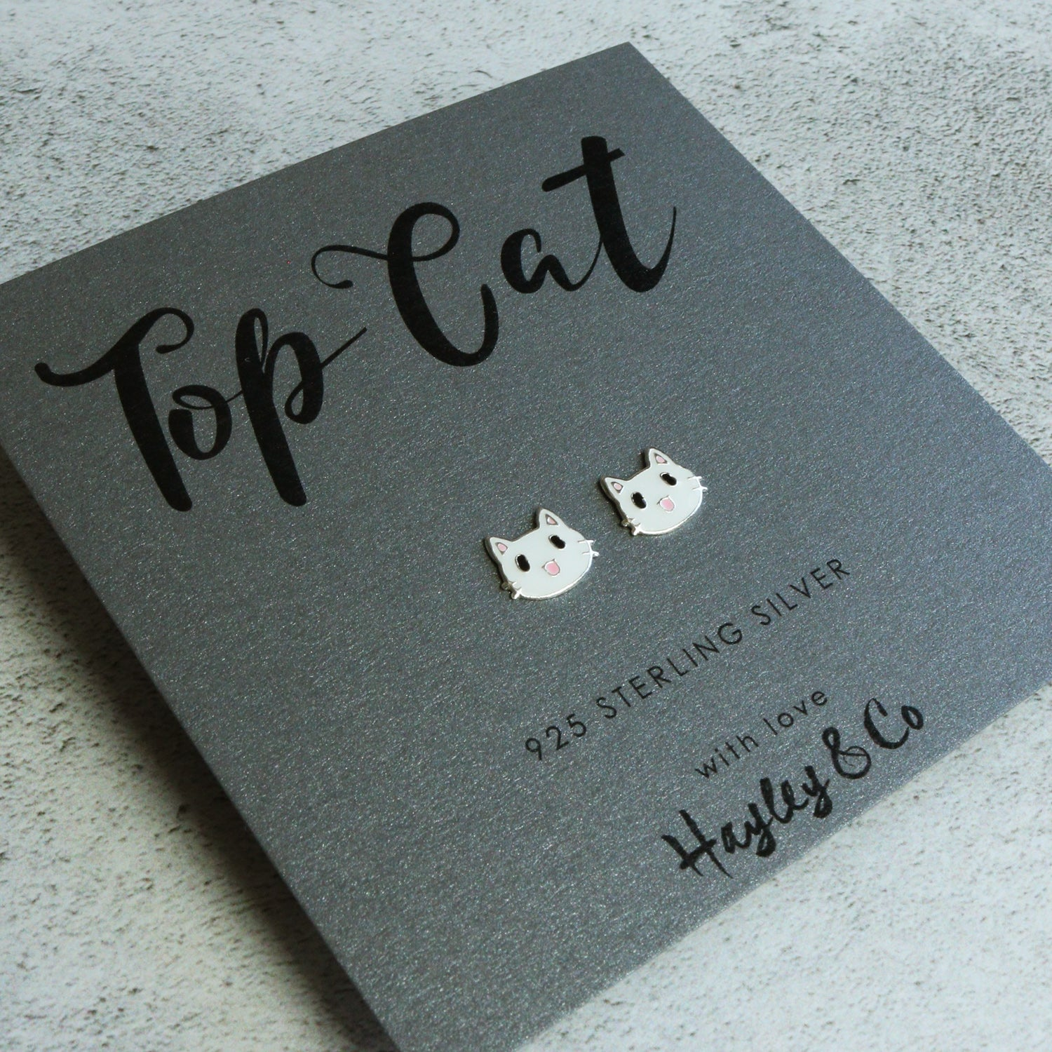 cat silver earrings