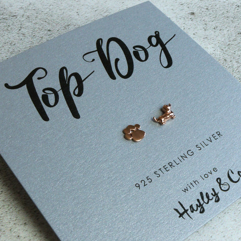 Top Dog Paw and Dog Rose Gold Earrings