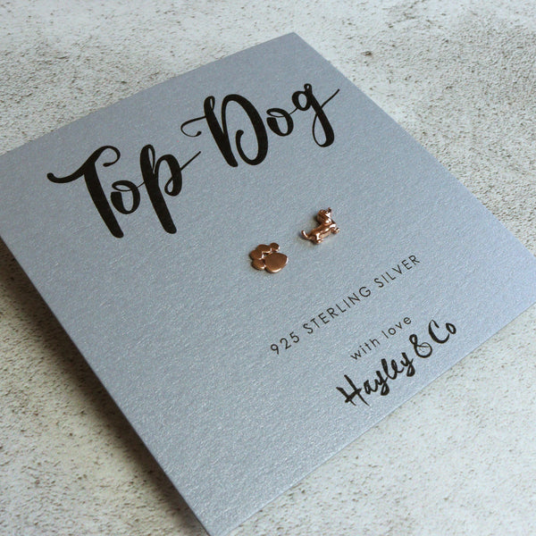 Paw Print and Sausage Dog Rose Gold Earrings