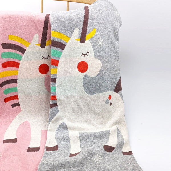 Unicorn Knitted Cotton Baby Blanket