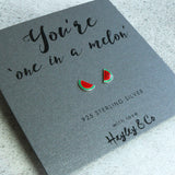 watermelon silver earrings