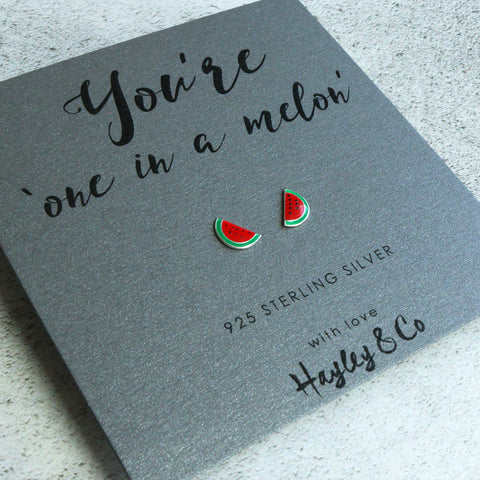 'One in a melon' Watermelon Sterling Silver Earrings