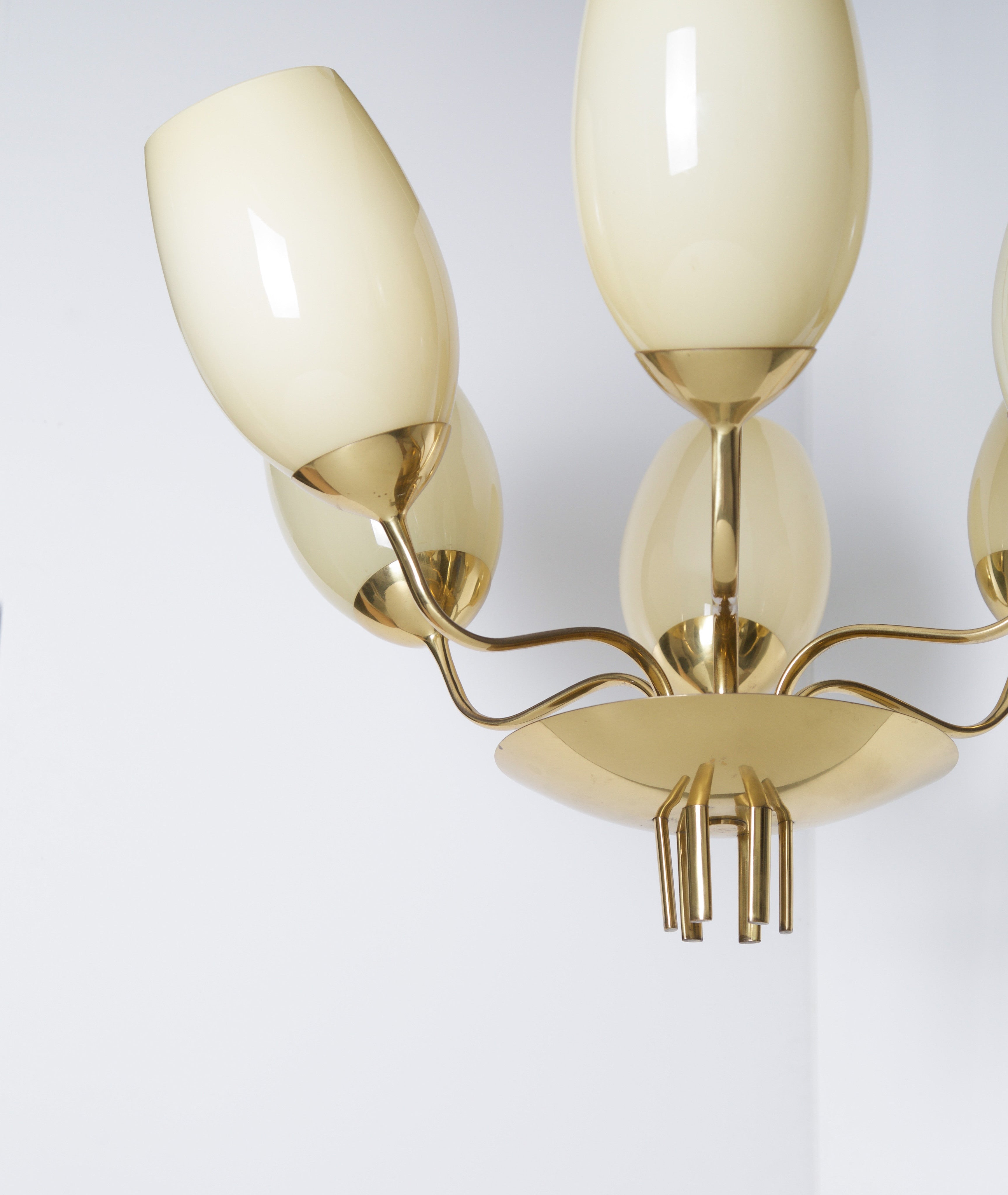 Paavo Tynell Brass Chandelier with Opaline Glass Shades, Model 9029/6, 1940s - The Exchange Int