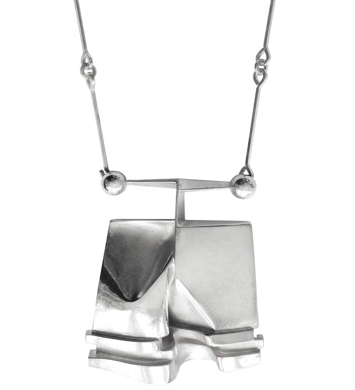 "Björn Weckström Sterling Silver Necklace ""O2X"" for Lapponia, 1974 - The Exchange Int"