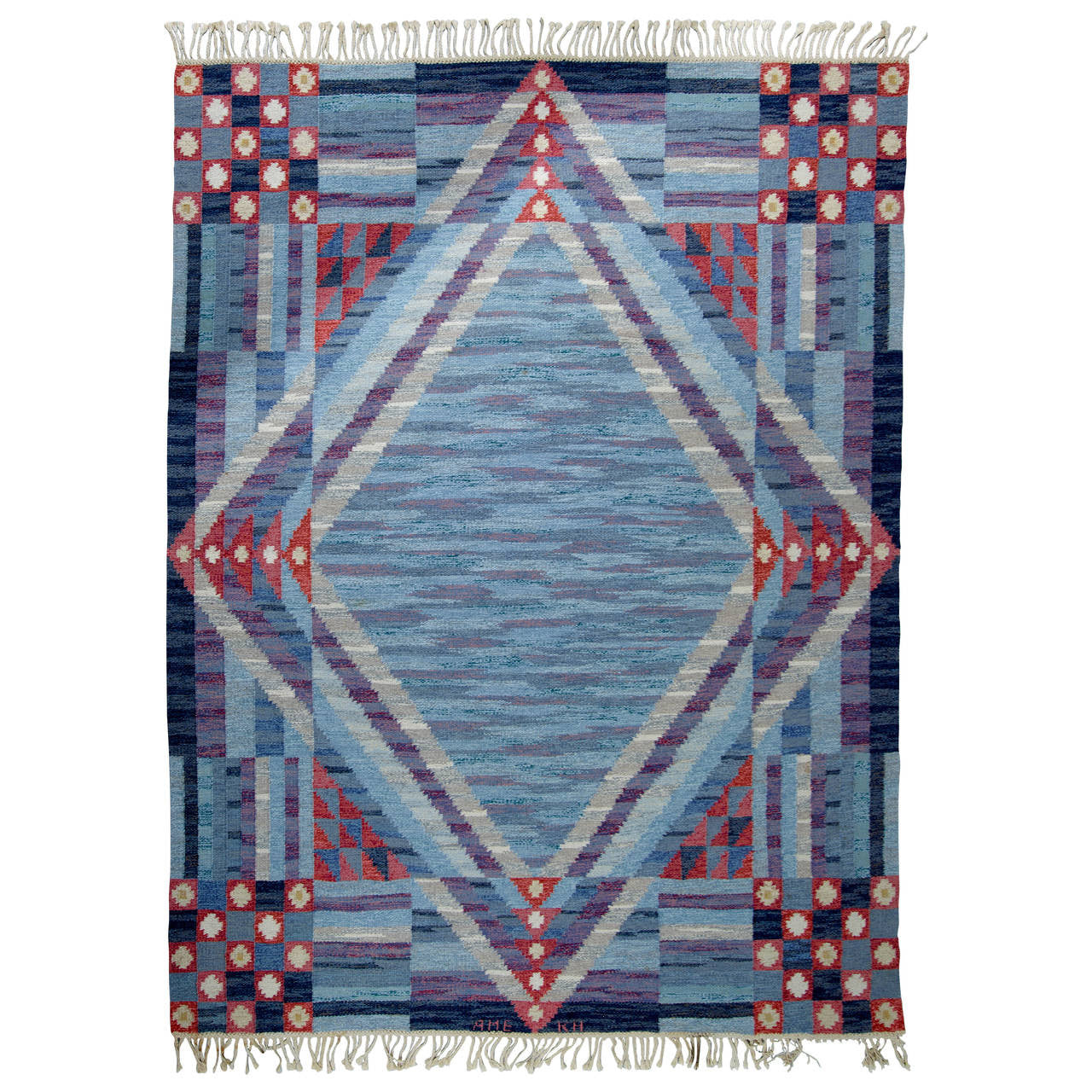 Swedish Flat-Weave Carpet, AME KH, 1950 - The Exchange Int