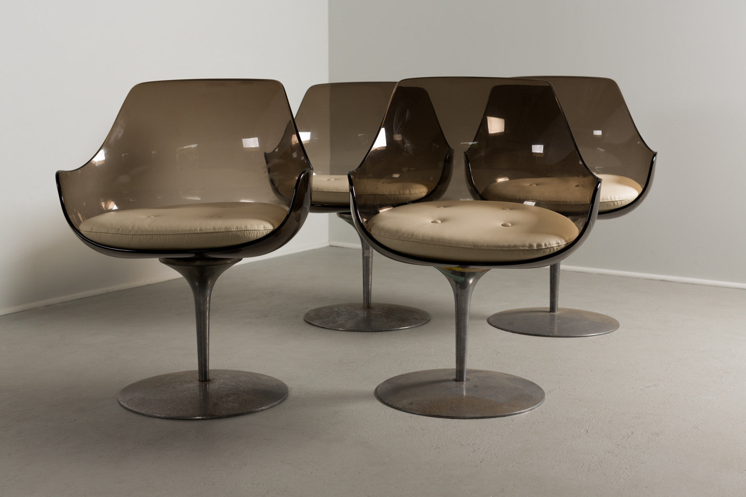 Erwine & Estelle Laverne Champagne Chairs, Set of Four, 1960s - The Exchange Int