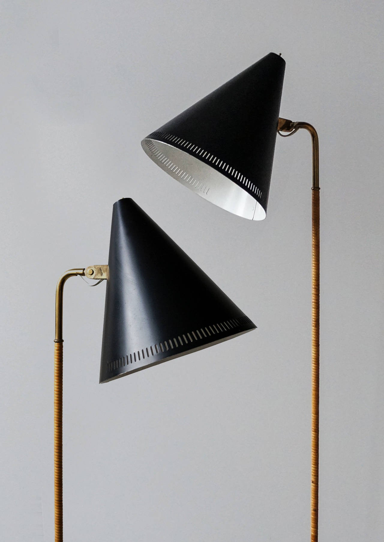 Paavo Tynell Floor Lamps, Model K10-10, Pair - The Exchange Int