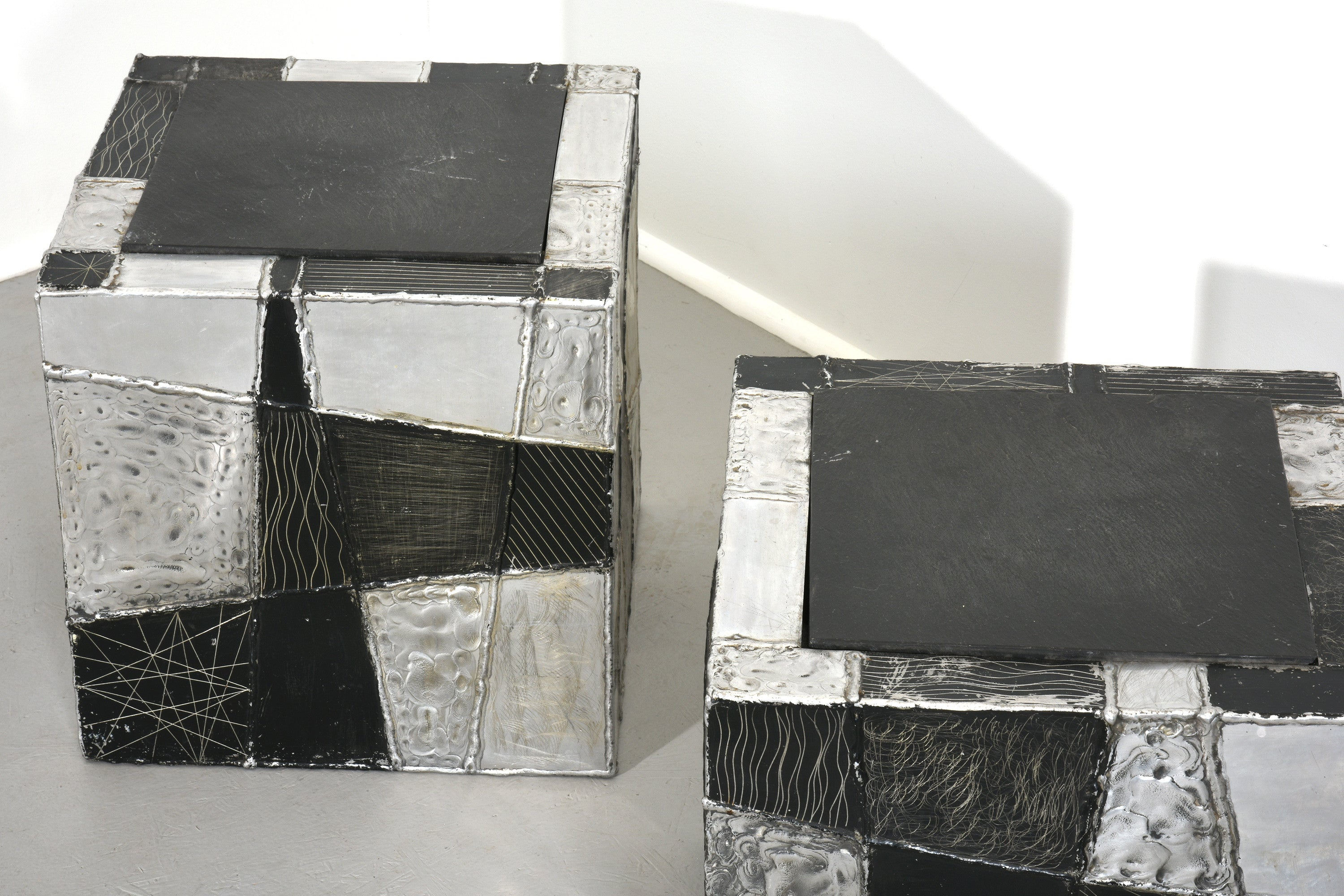 Paul Evans Pair of 'Argente' Cubes with Slate Tops, 1970s - The Exchange Int