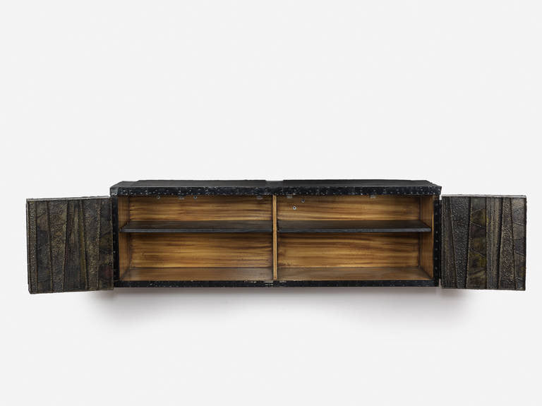 Paul Evans Sculptural Wall Hung Cabinet, PE-42, Early Lacquered Interior, 1967 - The Exchange Int