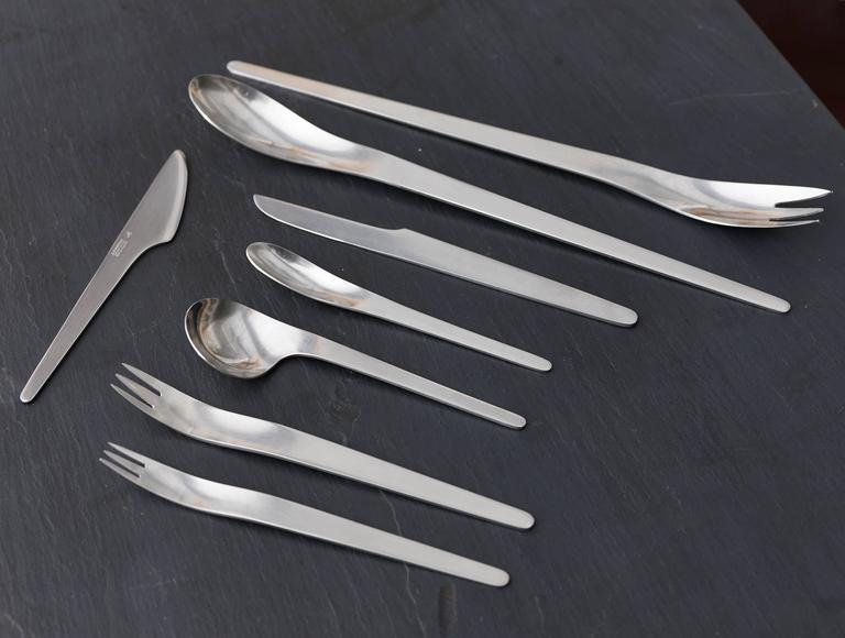 Arne Jacobsen AJ Flatware Aton Michelsen Silverware, 86 Pieces - The Exchange Int