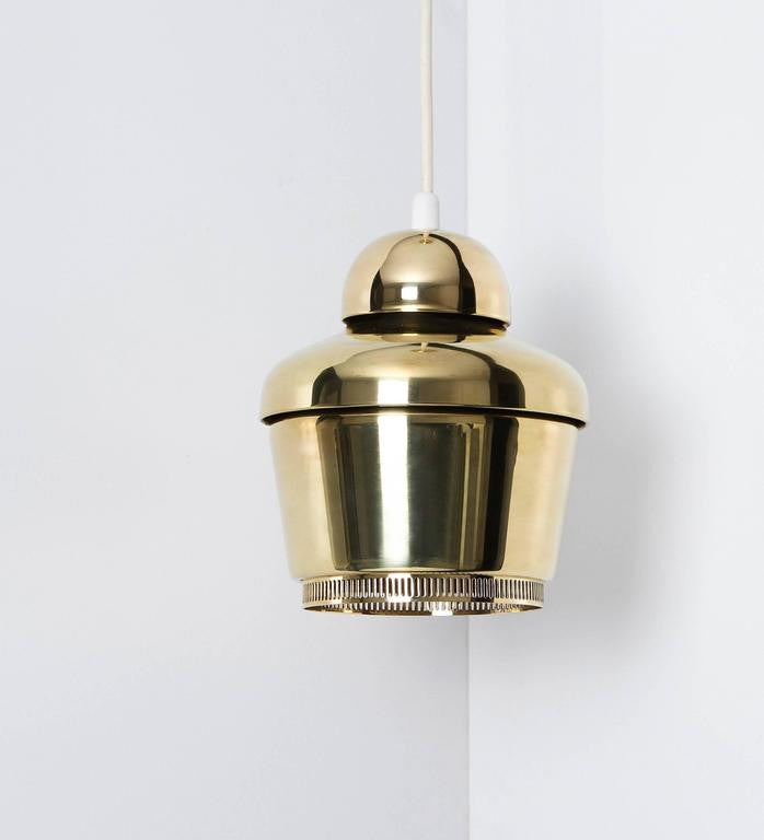 Alvar Aalto, Early Golden Bell Ceiling Lamp, Model A330, 1954 - The Exchange Int