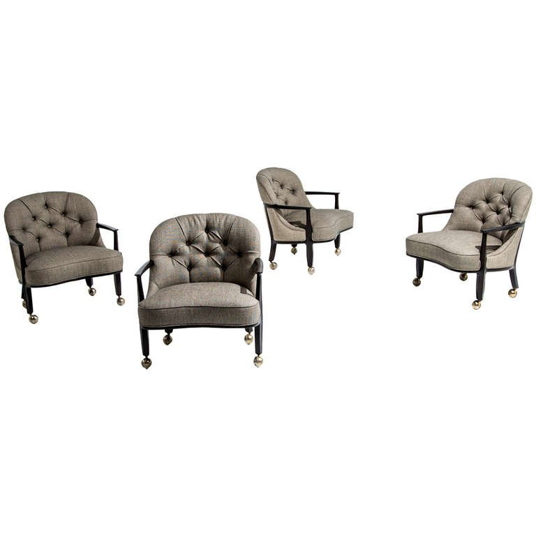 Edward Wormley for Dunbar Janus Armchairs, Set of Four, 1950s - The Exchange Int