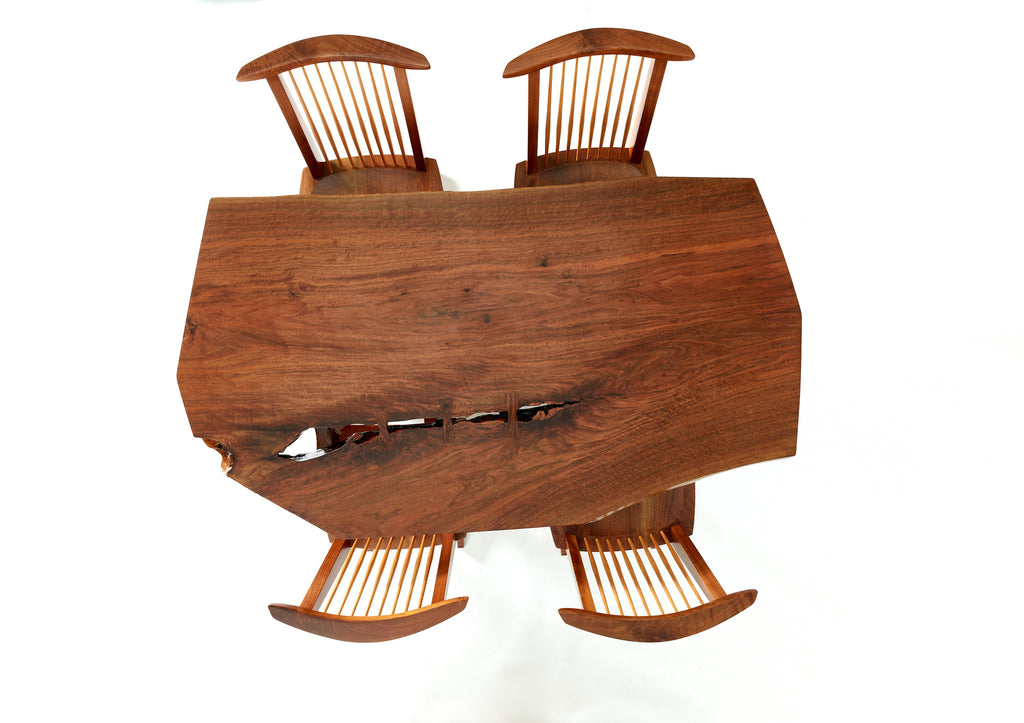 George Nakashima Conoid Dining Set with Single Board Walnut Surface, 1983