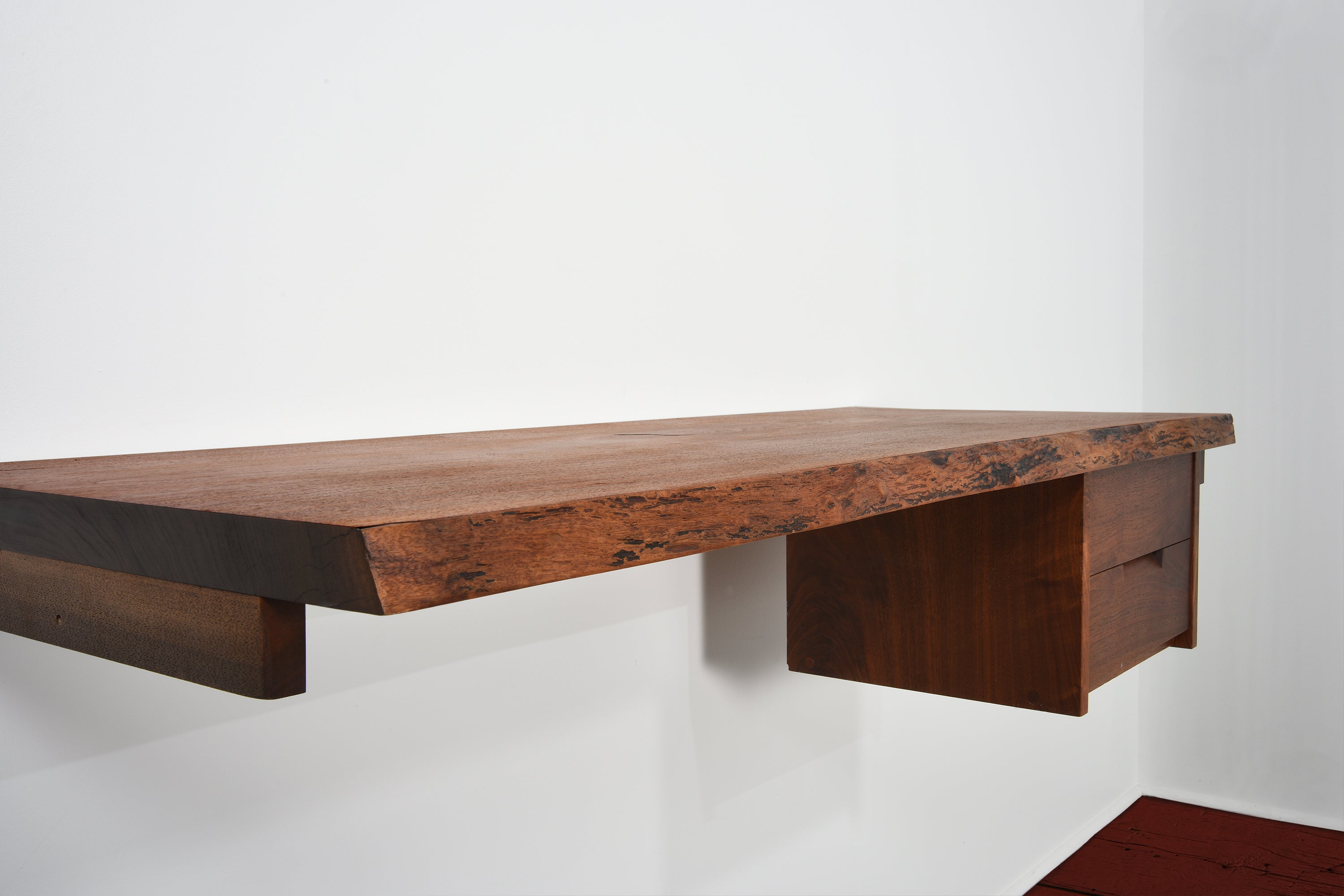 George Nakashima Desk/Shelf in Walnut with Two Drawers - The Exchange Int