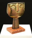 Oswaldo Guayasamin Tête Brass Sculpture, 1960s - The Exchange Int
