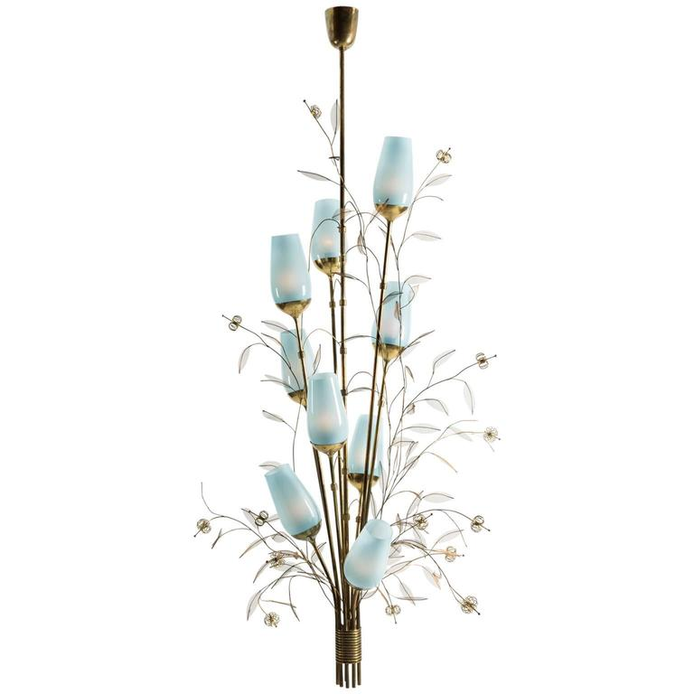 Paavo Tynell Chandelier with Blue Opaline Shades - The Exchange Int