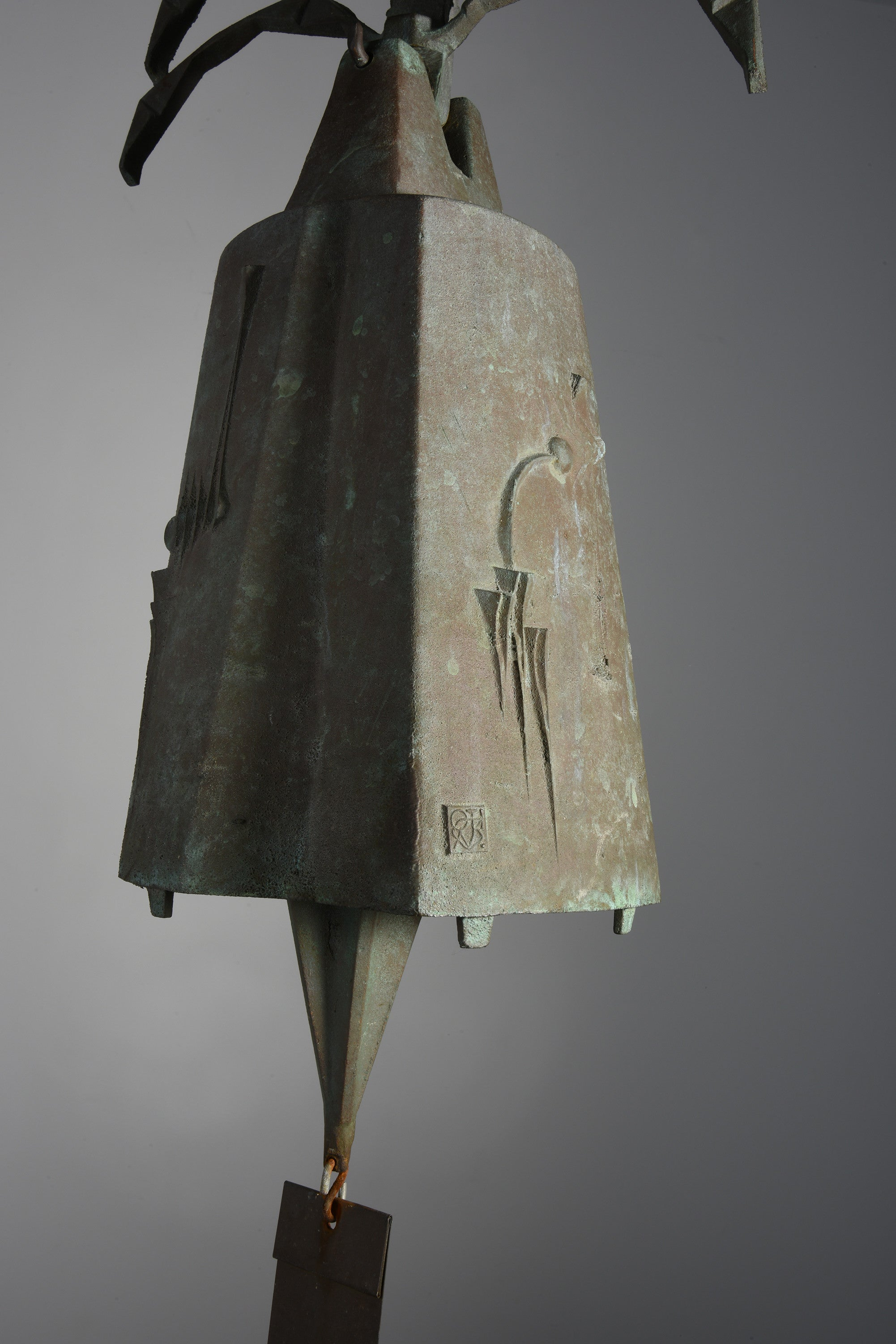 Large Paolo Soleri Hanging Bell in Cast Bronze, 1970s - The Exchange Int