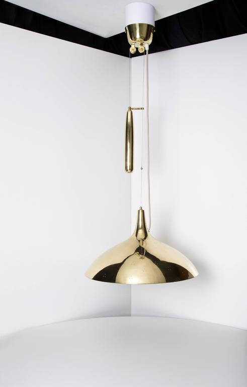 Paavo Tynell Pair of Brass Counter Balance Ceiling Lights, Model 1965 - The Exchange Int