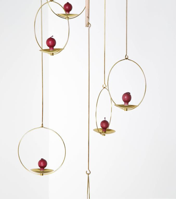 Timo Sarpaneva, Early 1960s Large Brass Candle Mobile, Model No.427, Aarikka Oy