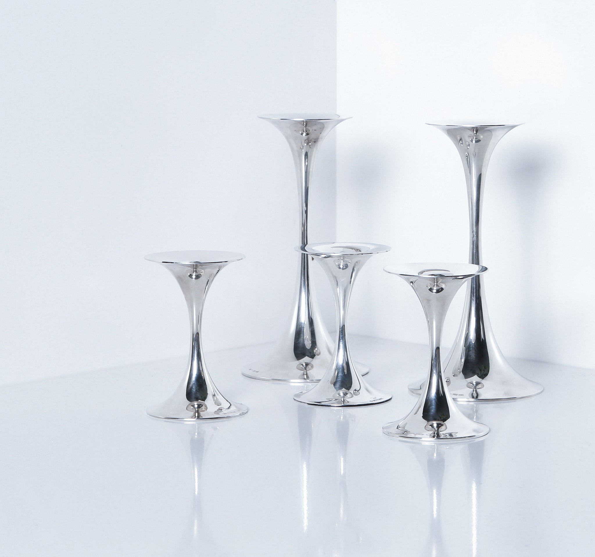 Tapio Wirkkala Sterling Candlesticks, Set of 5, Model TW 284, 1970