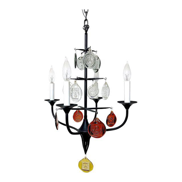 Erik Hoglund Iron & Glass Candelabra Chandelier, 1950's - The Exchange Int