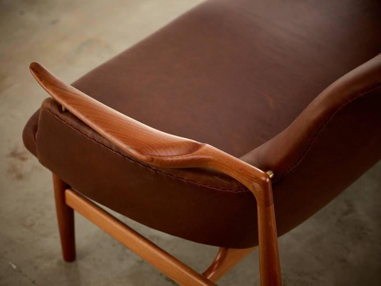Finn Juhl Two-Seat Sofa, Model No. NV53 in Leather