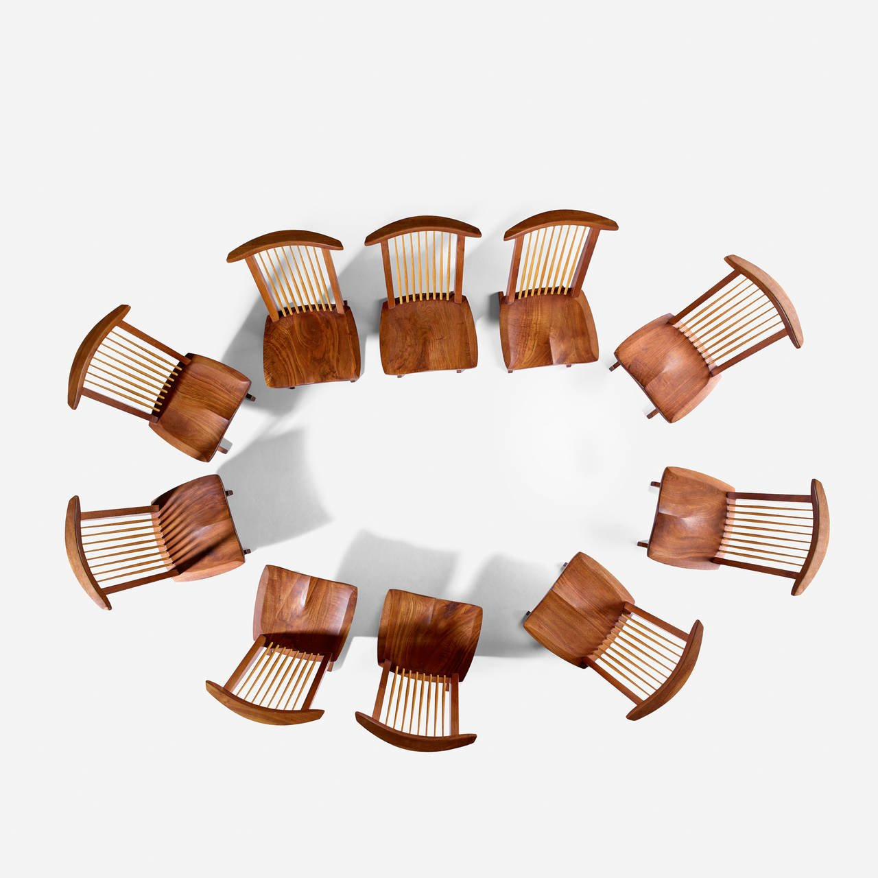 "George Nakashima Custom ""Sanso"" Table and Set of Ten ""Conoid"" Lounge Chairs - The Exchange Int"