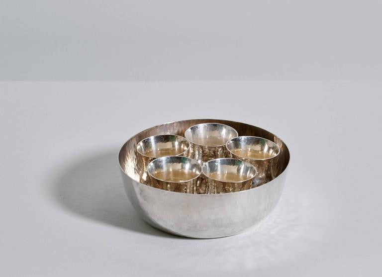 Eric Löfman Sterling Silver Cups with Inset Bowl, Punch or Cocktail Service