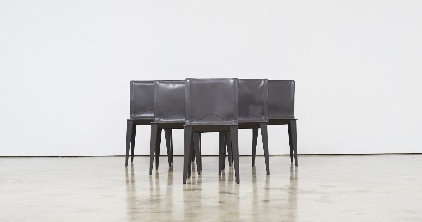 Matteo Grassi, Set of Six Leather Dining Chairs