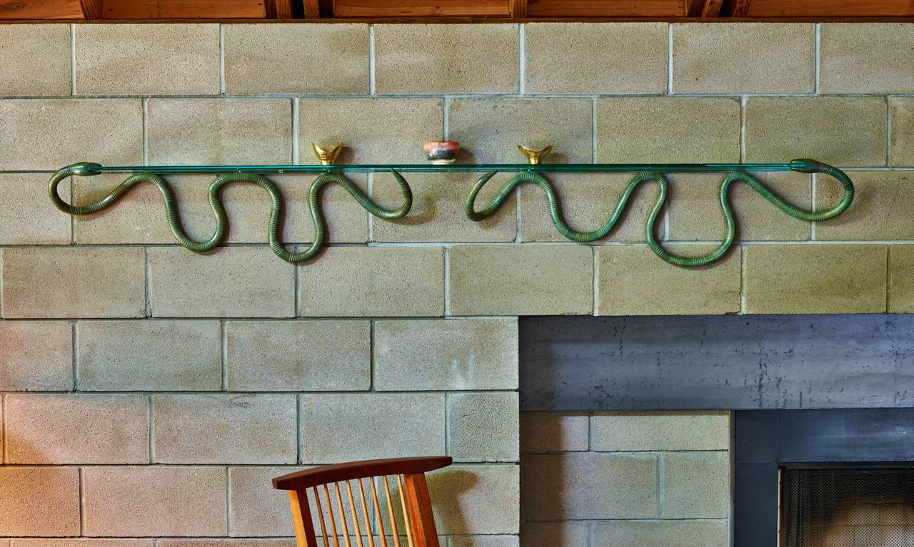 Judy Kensley McKie Bronze Double Snake Shelf, circa 1994