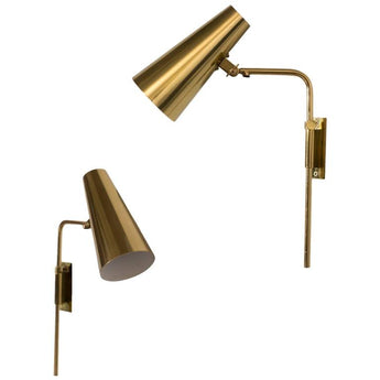 Paavo Tynell Adjustable Reading Brass Sconces, Idman