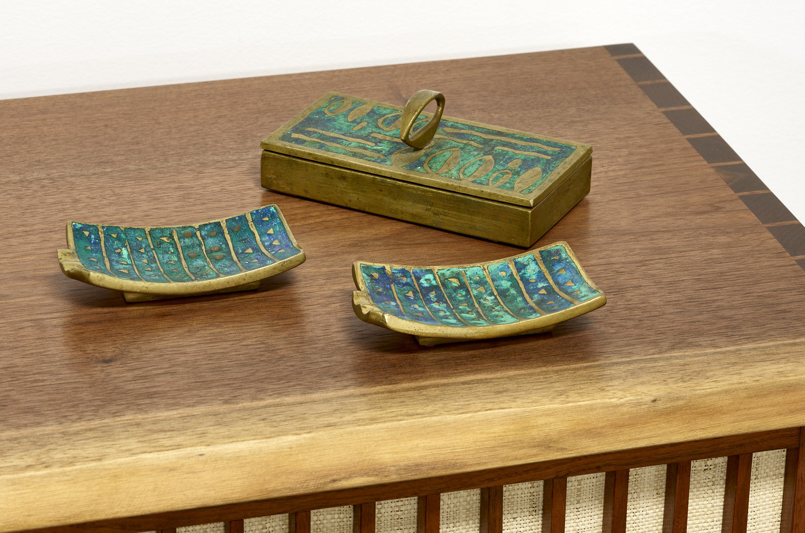 Pepe Mendoza Brass and Ceramic Box, 1950s - The Exchange Int