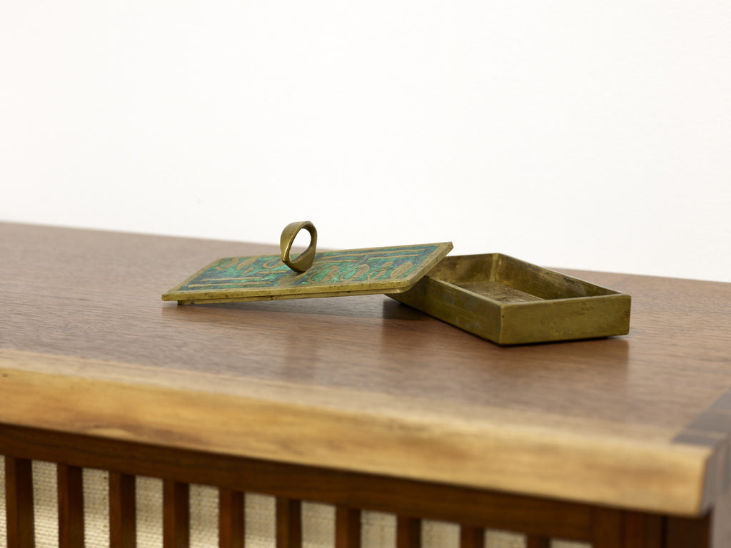 Pepe Mendoza Brass and Ceramic Box, 1950s