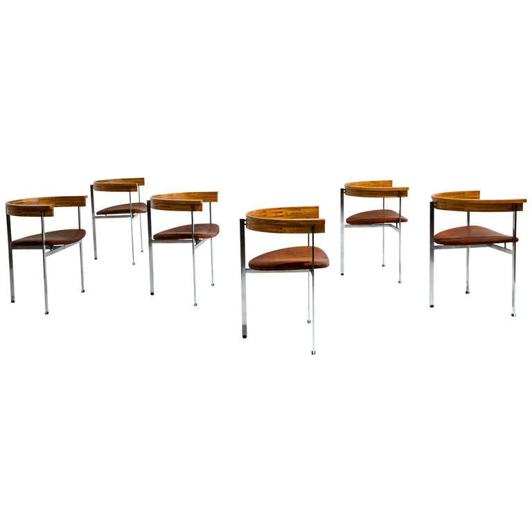 Six Poul Kjaerholm PK 11 Chairs, Original Condition, 1957 - The Exchange Int
