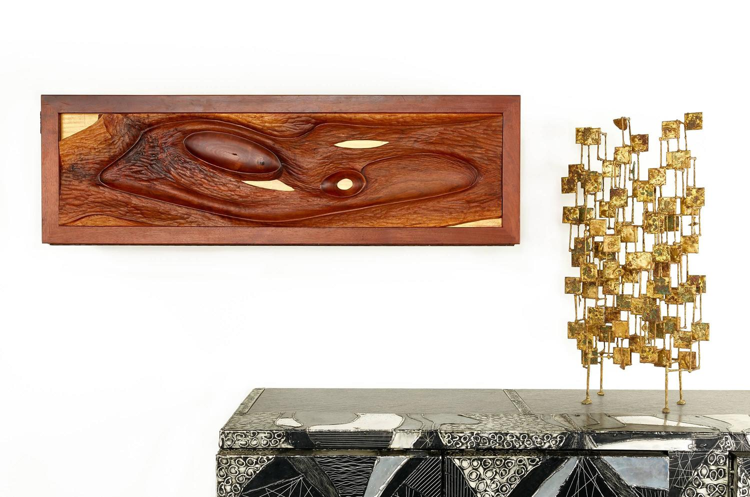 Phillip Lloyd Powell/Paul Evans Carved Walnut Wall Hung Cabinet, Early 1960s - The Exchange Int