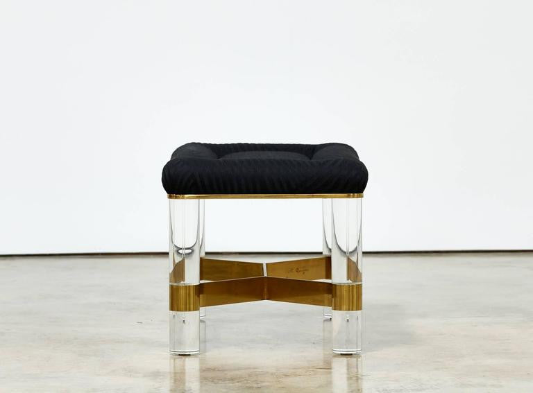 Karl Springer Brass and Lucite Bench - The Exchange Int