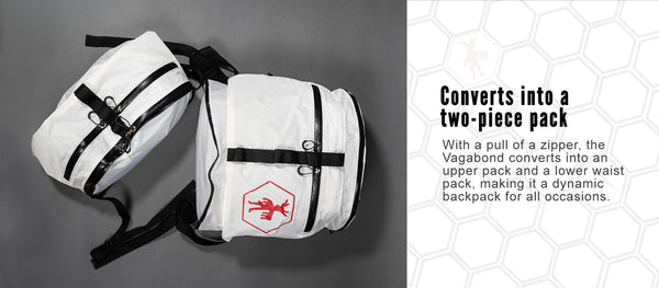 Vagabond Backpack zips into an upper pack and a lower waist pack.