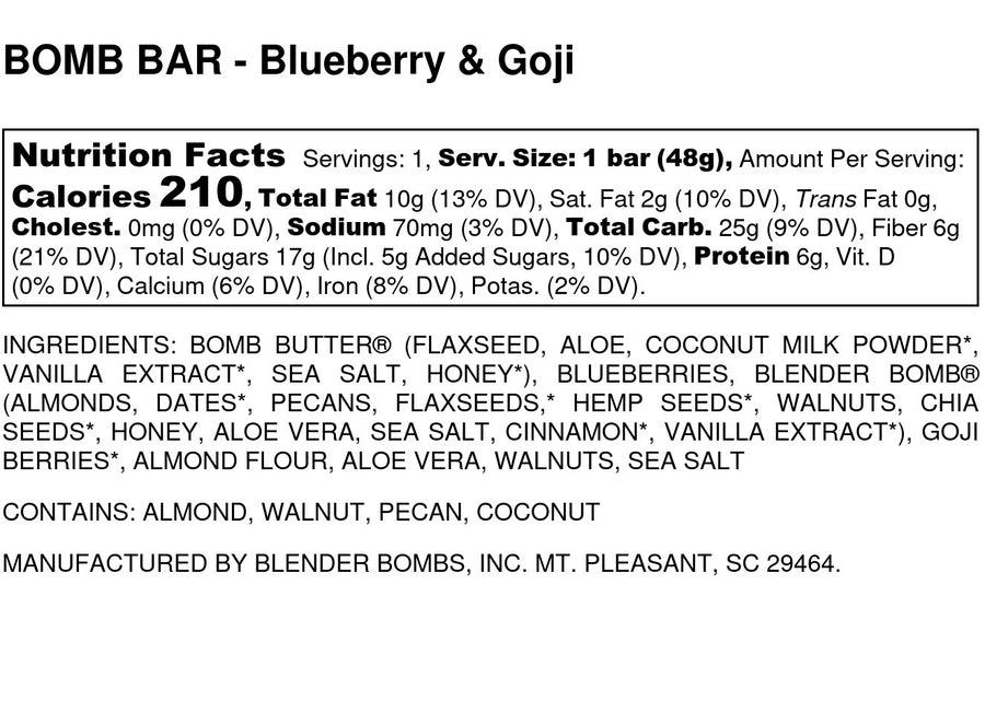 Bomb Bars - Blueberry & Goji