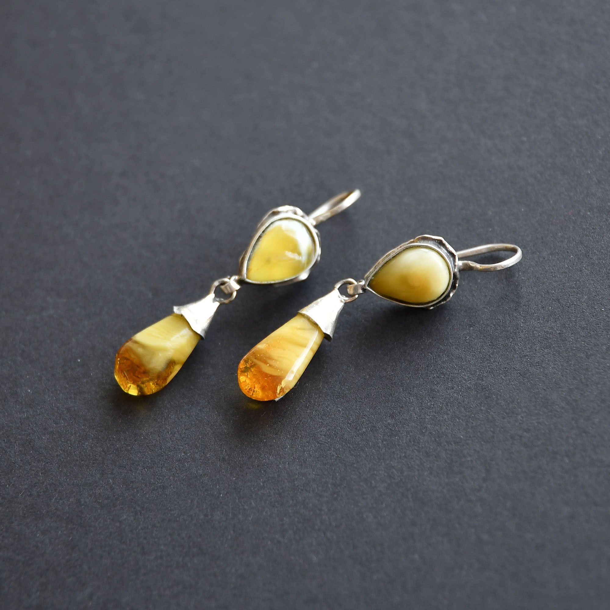 Amber drops of honey colour in silver